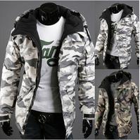 HOT ! New 2014 Winter Jacket Men Fashion Camouflage Hooded Coat Men Warm Jackets mens Fleece Outer Coats Size M-XXL 2COLOR