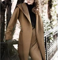 2014 New Design Women Winter Coat Hood long Oversize Warm Overcoat Lady Trench Slim Wool Jacket Outwear Parka