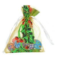 Jewelry bag 50PCs Organza Rose Pattern Green Wedding Christma Gift Bags Jewelry Pouches Free Shipping