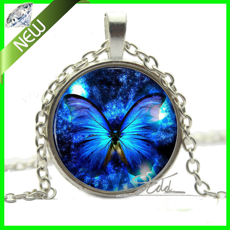 New Silver Blue Butterfly Necklace Pendant Vintage Unique Jewellery Art Gift Present Fashion Necklaces for women 2014 Vintage(China (Mainland))