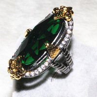 Long Oval Emerald Main Stone Gold Jewelry Ring Pebble 30 Grains Complex Shaped Stone 1 Grain Wholesale for Women Best Friend