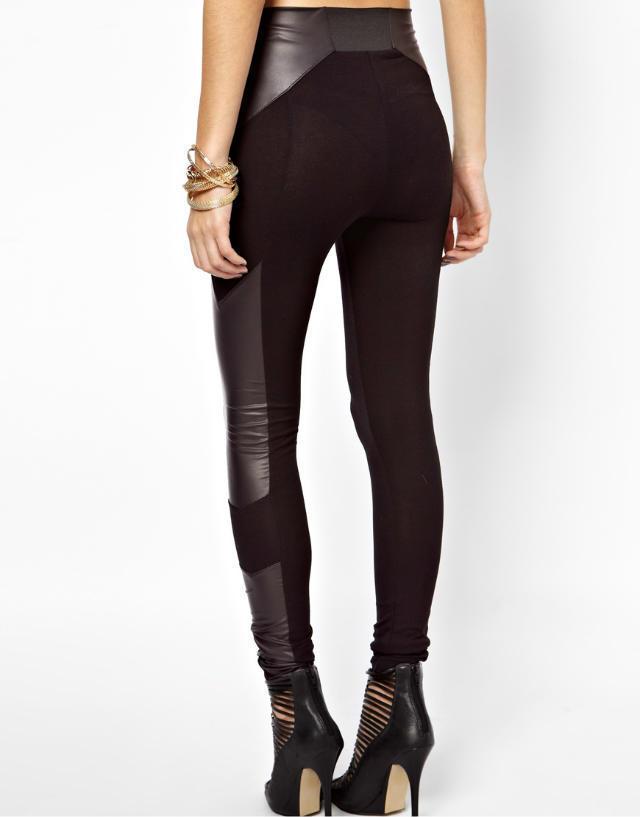 KZ532 New Fashion Ladies' elegant sexy faux leather spliced Skinny pant cozy trouses elastic waist casual slim brand pencil pant