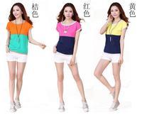 New Fashion Women Round collar stitching loose big yards short sleeve T-shirt female cotton T-shirt dress fee shipping