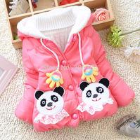 Kid's Winter Jackets Baby Girls Cartoon Coat Panda Pocket Girl's Hoodies Children's Coat Thick Plush Outerwear Red Pink Rose