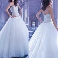 New Arrival Sweetheart princess wedding dresses 2015 with luxury crystal White Ball Gown vestidos de noivas 2014 com mangas
