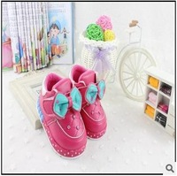 Free shipping winter boots girls kids princess shoes for girl 2014 genuine baby autumn leather kids boots winter girl 317A