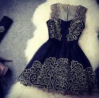 2014 new fashion elegant embroidery stitching lace prom dress vestido de festa