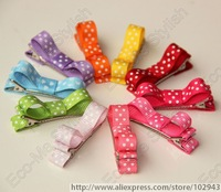 15 colors hair bow,50pcs baby tiny bow,hairpins with white dots, small bow with clips,hair accessories 5062