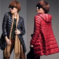 2014-2015 new Woman's down coat Slim Down hooded coat Woman Winter jacket Warm Down jacket fashion long overcoat Duck Down 90%