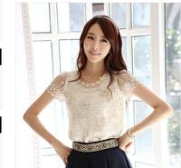 New 2014 casual short sleeve women chiffon lace blouse blouses shirts tops clothing feminina camisas blusas femininas roupas