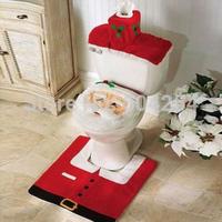 Wholesale New XMAS Santa Toilet Seat Cover Rug Bathroom Mat Set Christmas Decorations Free Shipping