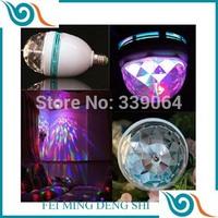 Mini RGB led bulb E27 Crystal Rotating magic ball stage colorful light candle spotlight RGB Lamps bulb party Disco DJ Lighting