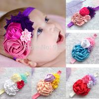 Drop Shipping1PCS children accessories mix color rosette Shabby flower photograph prog headband elastic headband