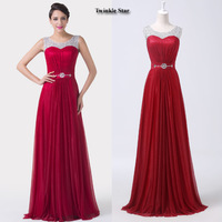 Grace Karin Sexy Red Chiffon A Line Formal Dress Wedding party Gown Floor Length Long Bridesmaid dresses 2015 CL6272