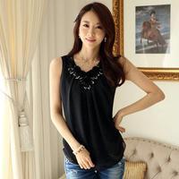 Trend All-match Fitness Solid Appliques Tank Top 2014 Summer Korean Sequined Sleeveless Chiffon Women Vest 6379