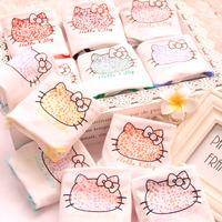 Free shipping Leopard & hello Kitty  women's underwear Mid waist briefs cartoonpure  cotton underwear