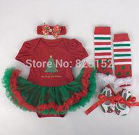 2015 Newborn Toddler Infant Baby Girl Headband+Romper+Leg Warmers+Shoes Christmas Santa Costume Sets Baby Custom Clothes Fashion