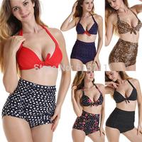 2015 Sexy High Waist  Women Bikini Set High Quality Flower Print Padded Vintage Swimwear Black Dotted Swimsuit Plus size S- 2XL