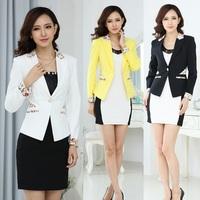 Autumn Formal Female White Blazers Women Jackets Winter Branco Blazer Feminino 2014 Ladies Professional Office Uniform Styles