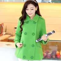 High quality Double-sided Woolen Worsted Coat for Ladies\ Women's Winter Green Fashion Sweet Warm Jackets\ S,M,L,XL Size\ A551
