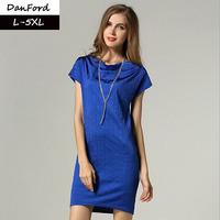 2014 New Women Plus Size Dress Solid Black Short Sleeve  Blue Dress For Women M-5XL  DFD003
