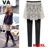 elastic lace pants skirt faux two piece elastic pants slim beaver autumn spring female culottes legging skirt Size