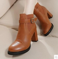 Europe and the United States high leather boots and waterproof table with Martin boots buckle
