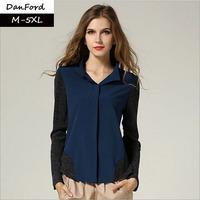 2014 New Women Plus Size Shirts Patchwork Dark Blue Full Sleeve  Blouse For Women M-5XL  DFS-001