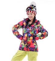 Hot sale Winter Outdoor sports Fashion Ski Coat High quality Waterproof Thickening Keep warm Women Ski Jacket 010A Free shipping