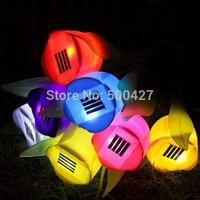 Free Shipping 72pcs/lot Outdoor Yard Garden Path Way Solar Power LED Tulip Landscape Flower Lamp Lights wholesale