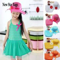 Summer Hat Girls Kids Beach Hats Bags Flower Straw Hat Cap Handbag Bag Suit Free shipping & Drop shipping .TS11E