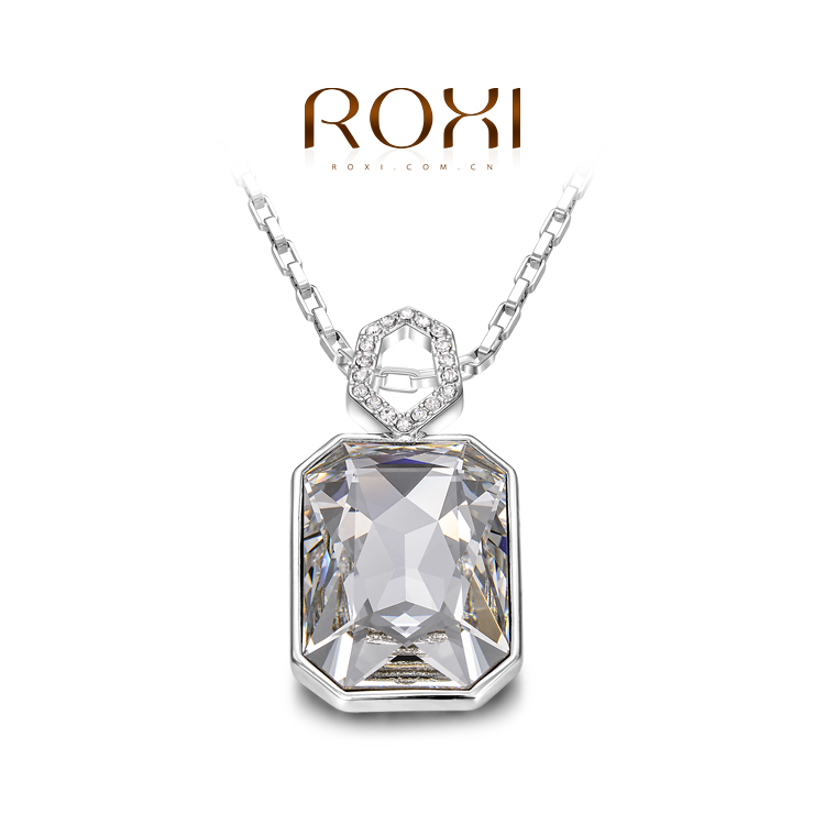 ROXI Gift Genuine Gold Plated Austrian Crystals Fashion Chain platinum Necklace Multi-Literal Pendant Big OFF For Party(China (Mainland))