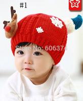 New Hot Sale Baby Christmas Deer Design Crochet Hat Infant Toddler Knitted Beanie Cap Kids Cute Winter Warm Cap