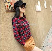 Free Shipping 2014 Autumn Fashion Womens Tops Casual Blouse Turndown Collar Long Sleeve Plaids Print Pattern Flannel Shirt WS011