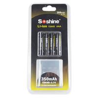 Free Shipping  Soshine Li-ion 10440 3.7V 350mAh Rechargeable Battery (4 pcs)