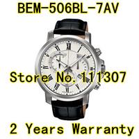 BEM-506BL-7AV New  Mens Sport Chronograph 506BL Watch Leather sport BEM-506BL White Dial Wristwatch BEM-506BL-7A Gentleman Watch
