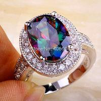 Wholesale Mysterious Women Men Jewelry 10*14mm Oval Cut Rainbow Topaz & White Topaz 925 Silver Ring Size 7 11