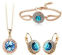 2015 New Fashion 18K Gold Plated Sea Blue Crystal Necklace Earrings Bracelet Jewelry Set for Women Wedding Jewelry