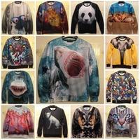 New 2014 Winter Unisex Tops Animal Mous/Elephant/Panda/Owl/Shark 3D Print Sweatshirt Casual Sportwear Hoodies Brand Sweatshirts