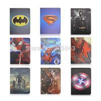 Cute 3D Cartoon Batman Superman Spiderman Captain America Design Flip Stand Leather Smart Case Cover For iPad Mini 1 2