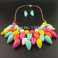Handmade Multicolor Teardrop Resin New Unique Chunky Bib Choker Bead Chain Statement Necklaces Jewelry