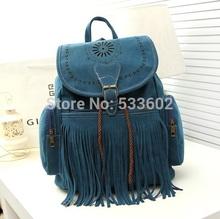Tassel Backpack Vintage Drawstring Suede Leather Backpack Bag 5 Color mochila feminina Women backpack(China (Mainland))