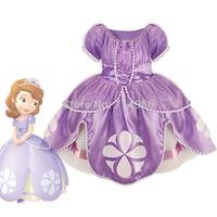 2014 Cartoon Sofia Children Kids Girls Princess Dress Performing Party Clothes Dresses Free Shipping