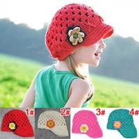 Cute Handmade Baby Kids Infant Toddler Girl Crochet Knit Flowers Beanie Hats Cap