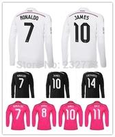 Long sleeve Free Custom 14/15 Real Madrid Home Away 3rd Soccer Jersey Football Kit Ronaldo Hernandez Kroos James Top Quality