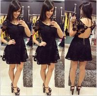 vestido de verao com renda novos 2014 women new sexy backless short black lace dress with open back cut out crochet dresses