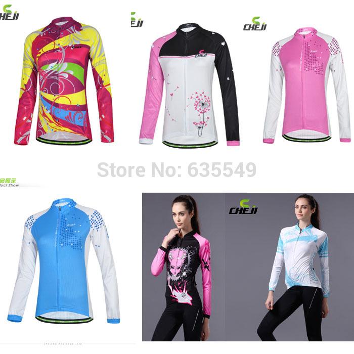 estilos de moda camisola de ciclismo ciclismo ropa mulheres manga longa rosa/azul/branco/preto/vermelho atlético bicicleta vestuário feminino(China (Mainland))