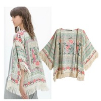 New Fashion Ladies' floral Pattern tassel Cape vintage loose Outwear casual Tops elegant Cape Lady kimono blouses branded