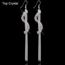Christmas gifts Brand Charm bridal jewelry Geometric letters rhinestone tassel personality Crystal earrings for women 2014