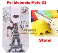 Eiffel Tower Case Leather Case Cell Phone Case Strap Phone Case+Phone Stand For Motorola Moto X (2014)  Moto X2, Moto X+1